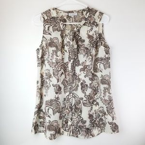 A Pea in the Pod Paisley Print Tie Neck Blouse M